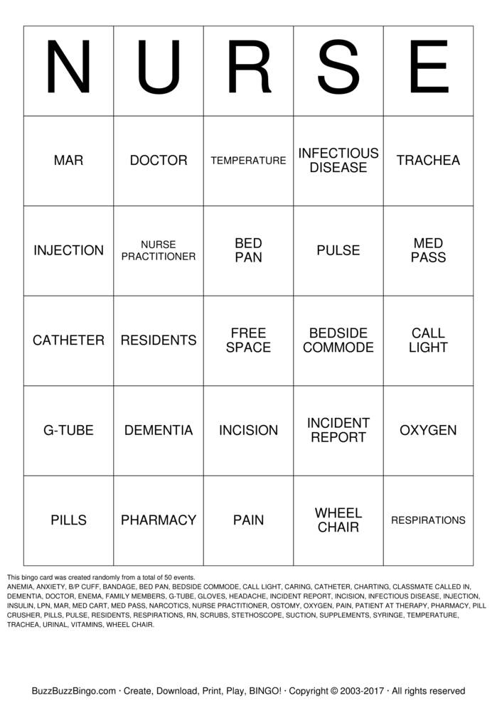 Download Free Nursing Student Bingo Cards