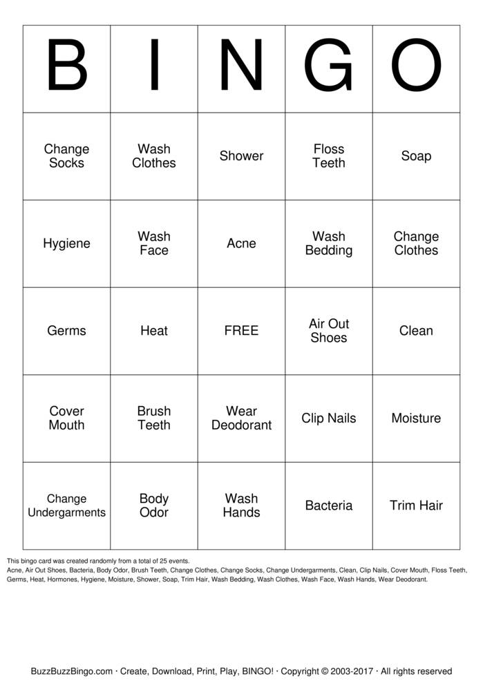 Download Free Personal Hygiene Bingo Cards