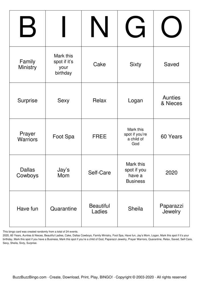 Download Free Spa Party Bingo Cards