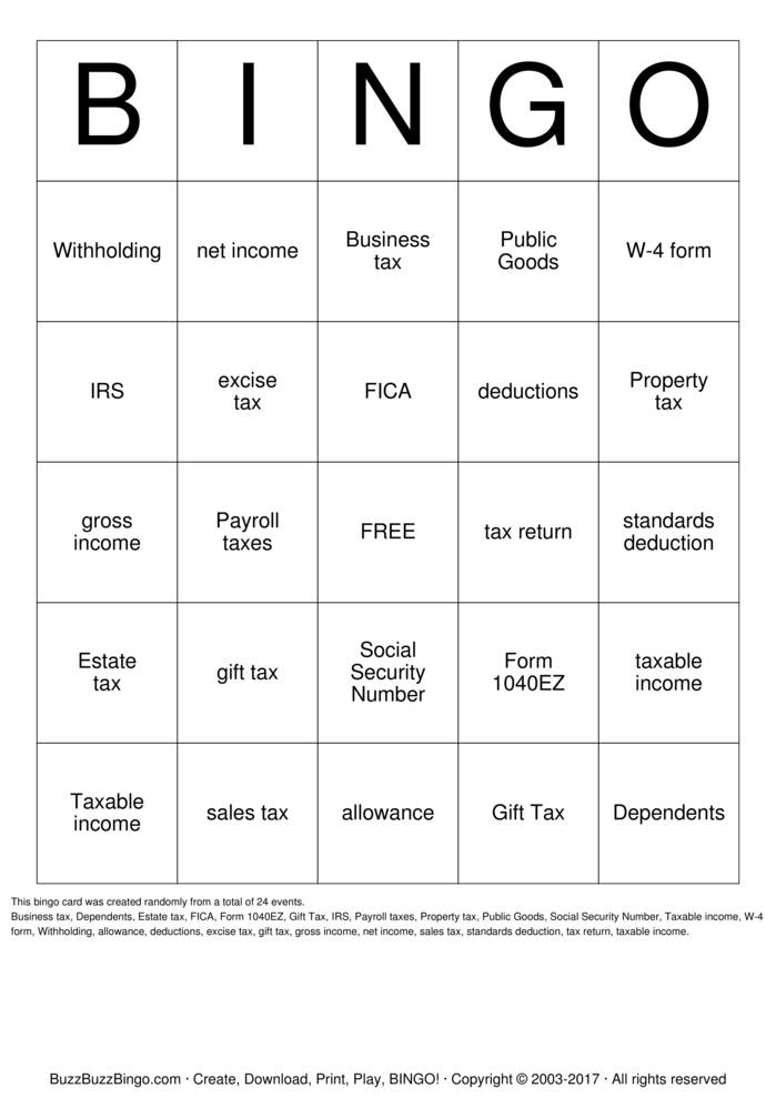 Tax Bingo Card