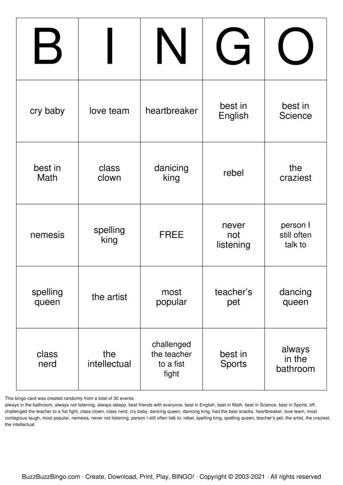 Download Free 50th Class Reunion Bingo Cards