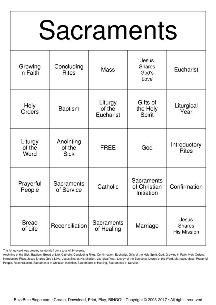 Download 5th Grade Religion Class  Bingo Cards
