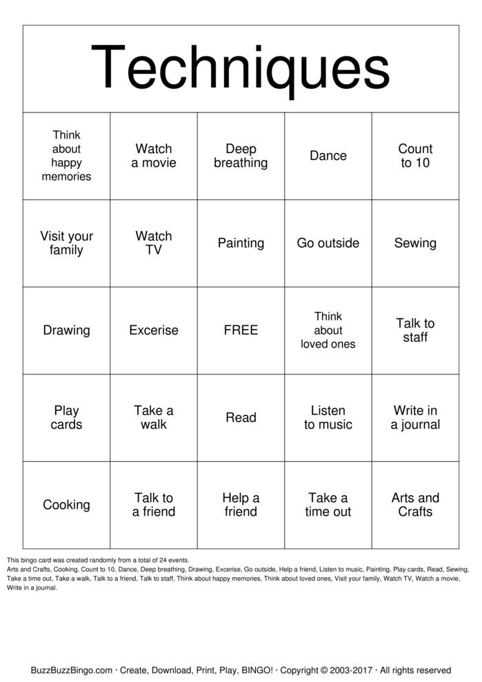 Download Anger Management Bingo Cards