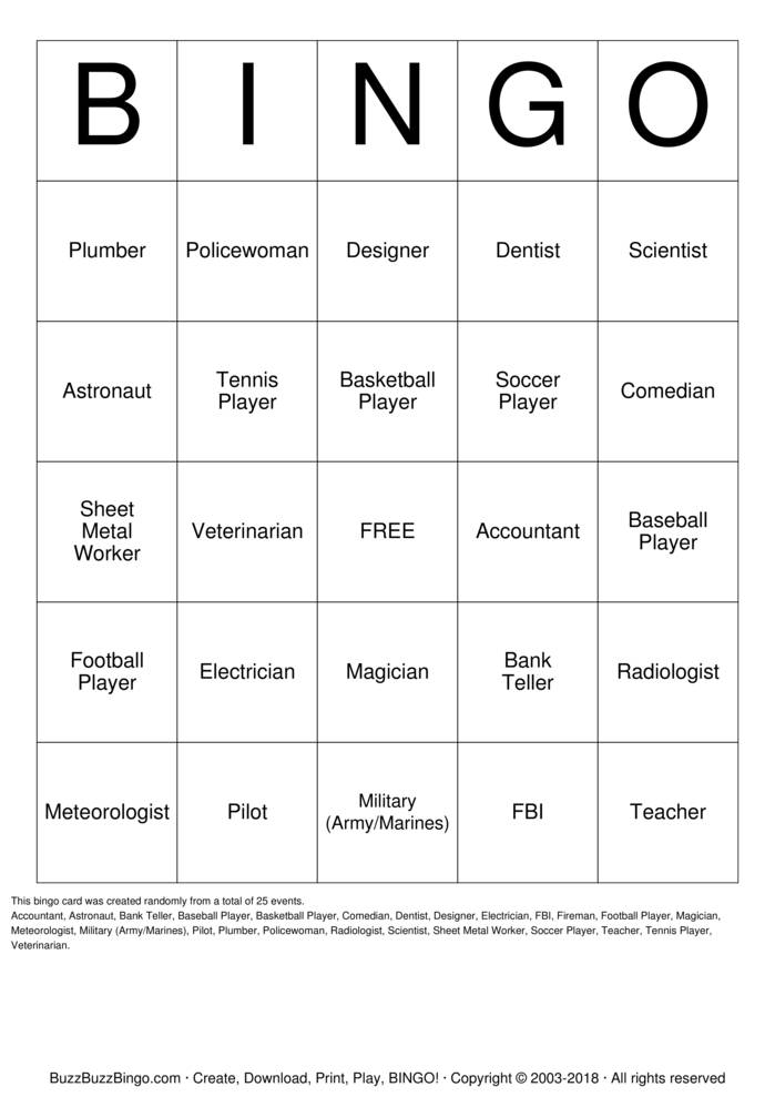 Download Bank Teller Bingo Cards