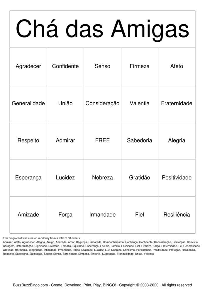 Download Free Bingo da amizade  Bingo Cards