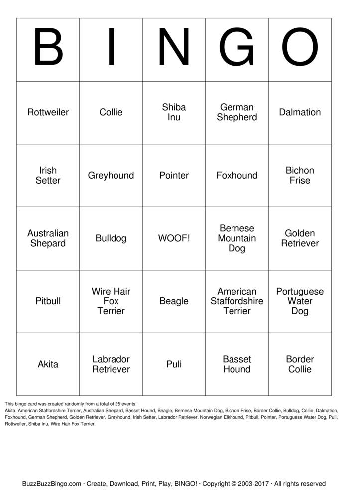Download Free Dogs Bingo Cards
