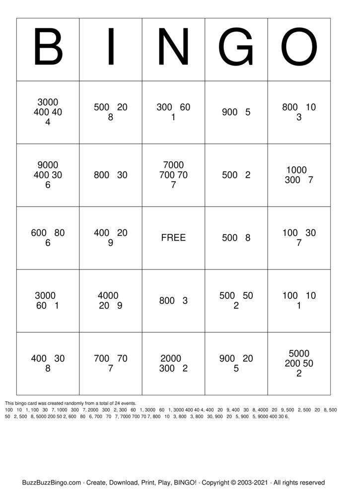 Download Free Expanded Form Bingo Cards