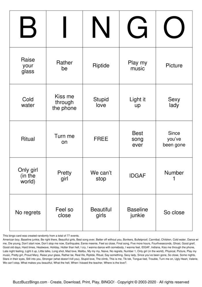 Download Free Music Bingo Bingo Cards