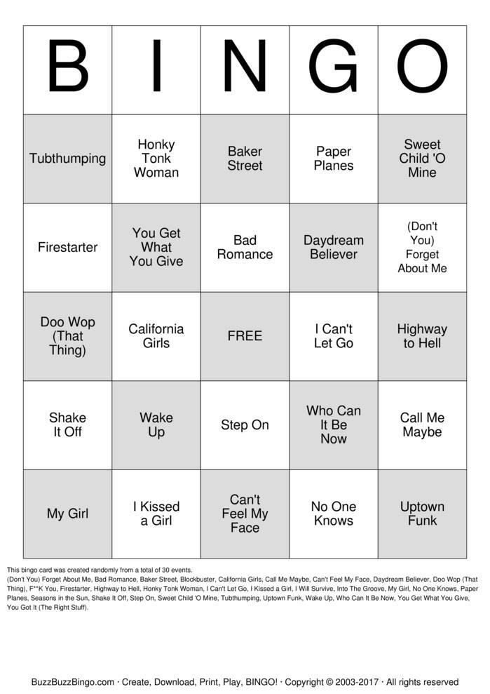 Rock N Roll Bingo Cards