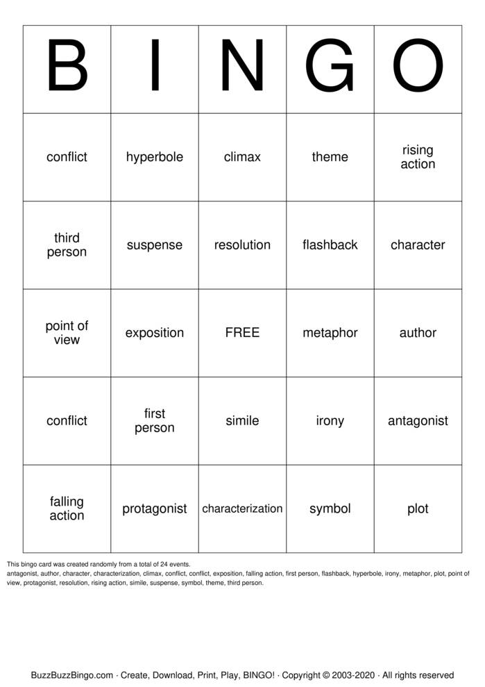 Download Free Short Story Bingo Cards