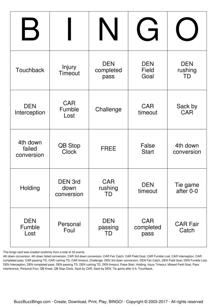 2016 Superbowl CAR vs DEN Bingo Card