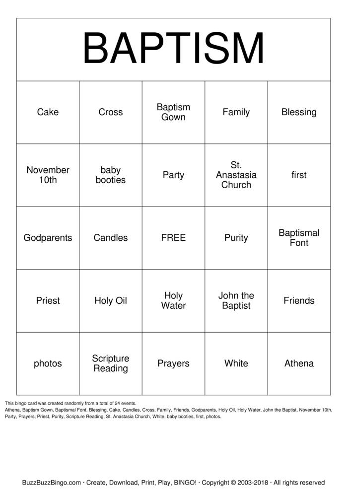 Download Athena's Christening Bingo Cards