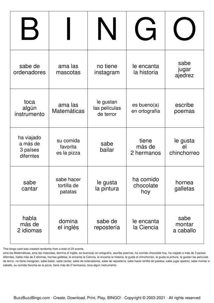 Download Free Bingo de personas Bingo Cards
