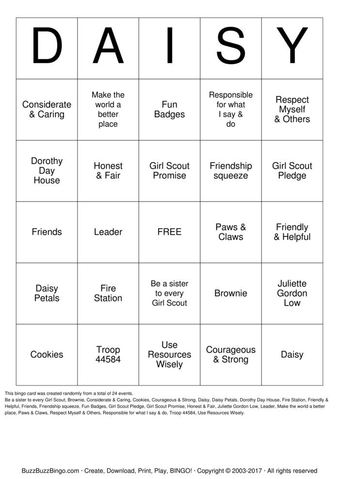 Download Free DAISY Bingo Cards