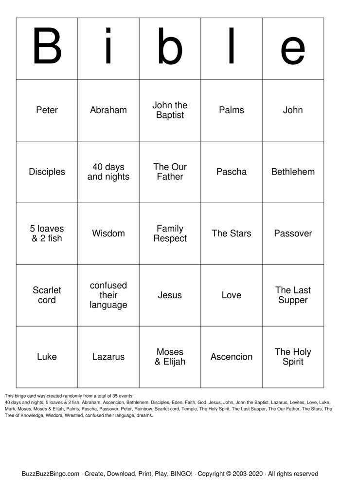 Download Free Families in the Bible Bingo Cards