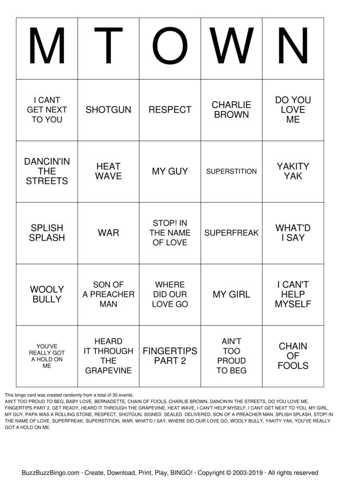 Download Motown Bingo! Bingo Cards