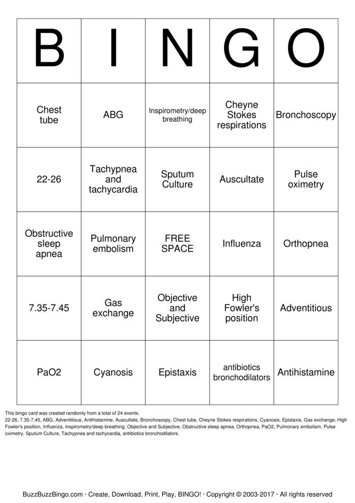 Download Free Respiratory Bingo Cards