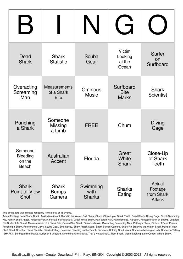 Download Free SHARK WEEK BINGO Bingo Cards