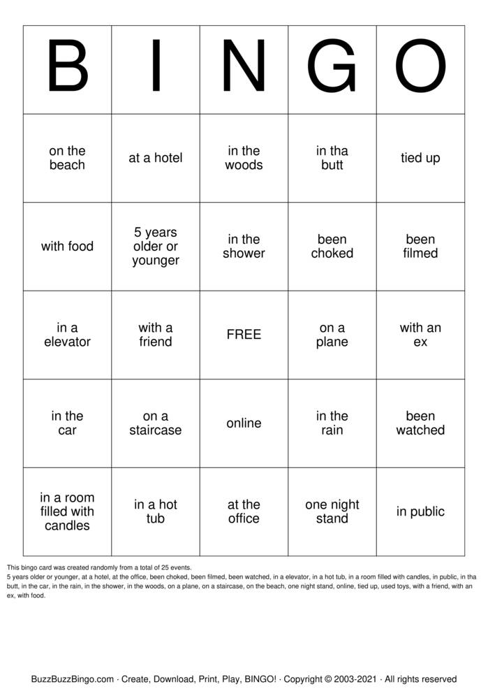 Download Free Sex Bingo Cards