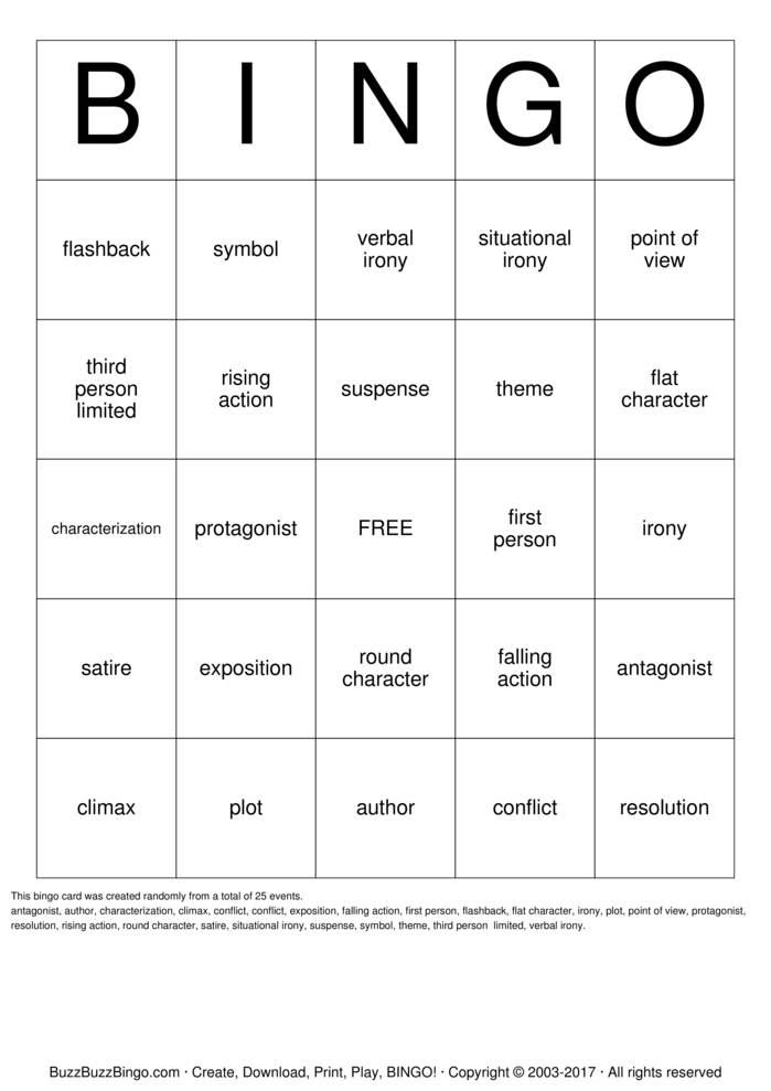 Short Story Terminology Bingo Card