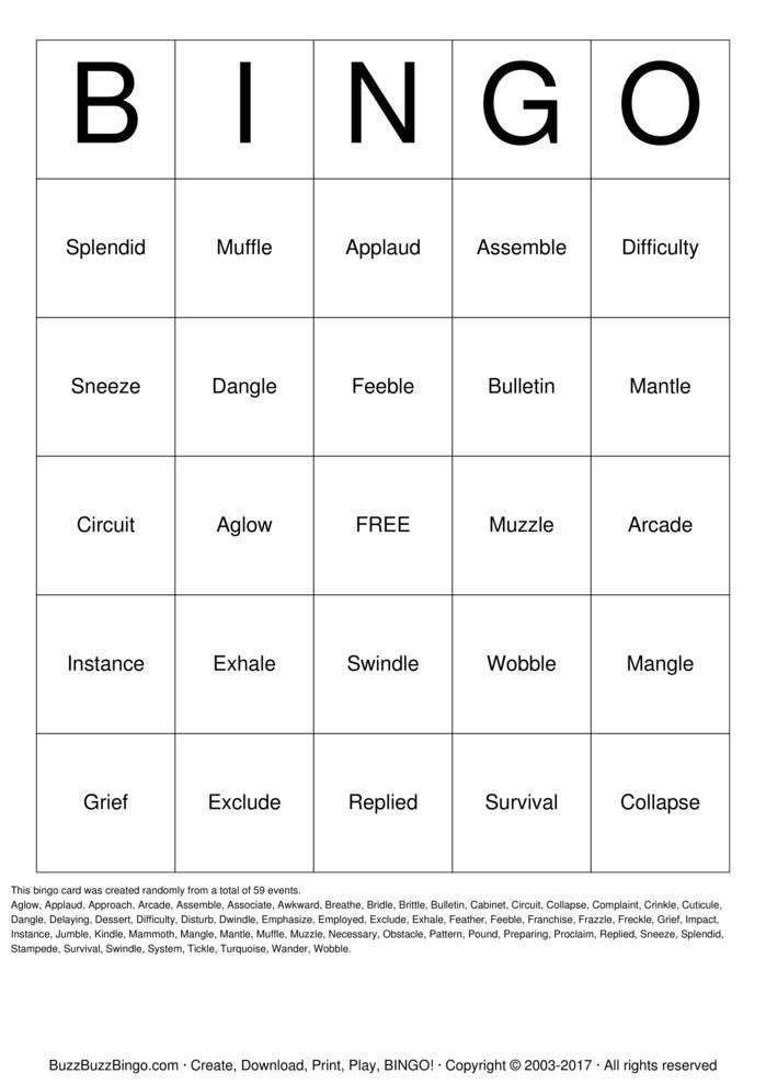 Spelling Bingo Bingo Cards To Download Print And Customize