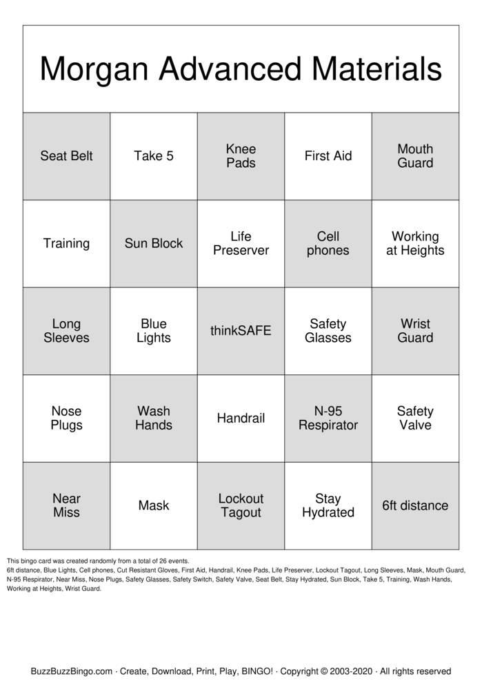 Download Free thinkSAFE BINGO Bingo Cards