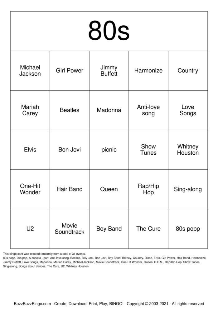 Download Free 80s Bingo Cards