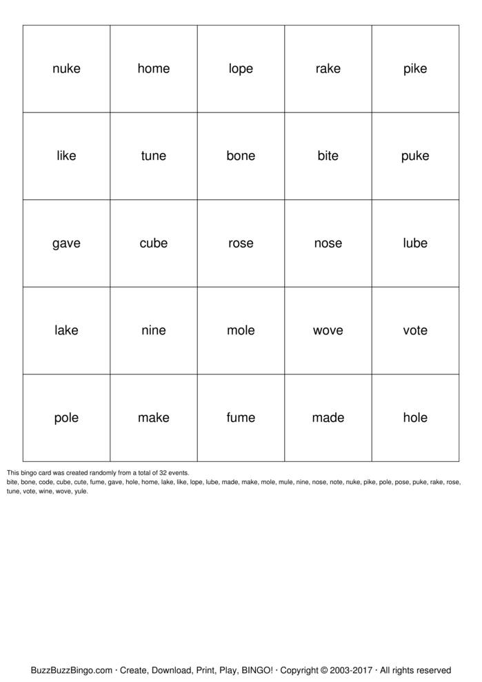 CVCe Bingo Cards to Download, Print and Customize!