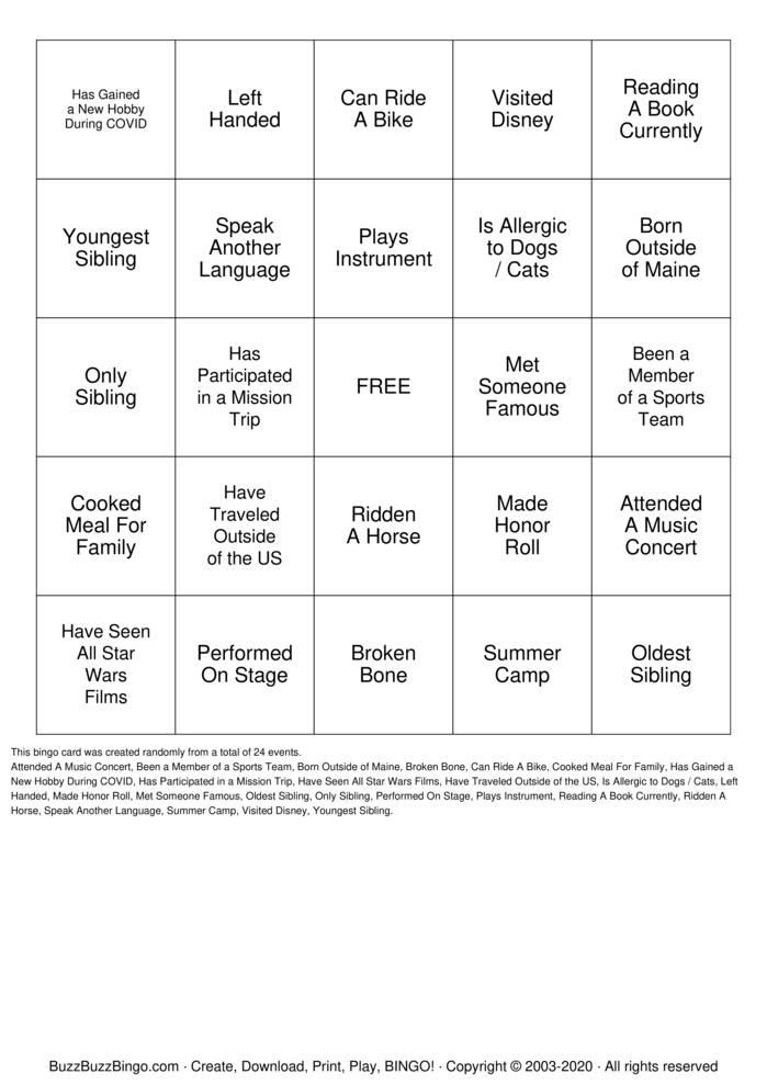 Download Free Diversity Bingo Cards