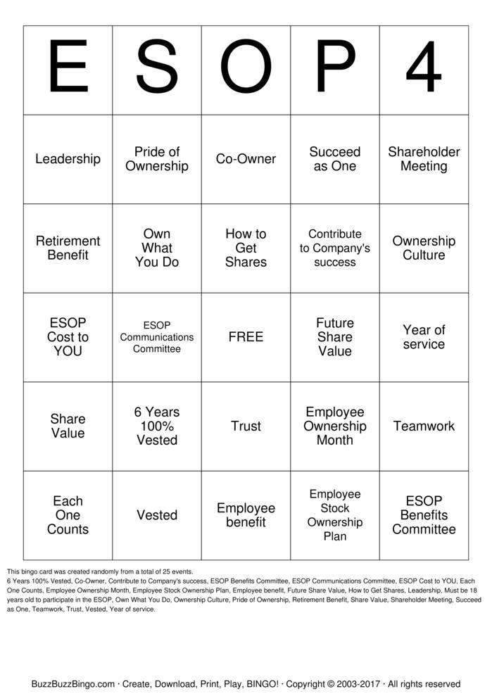 Download Free ESOP Bingo Bingo Cards