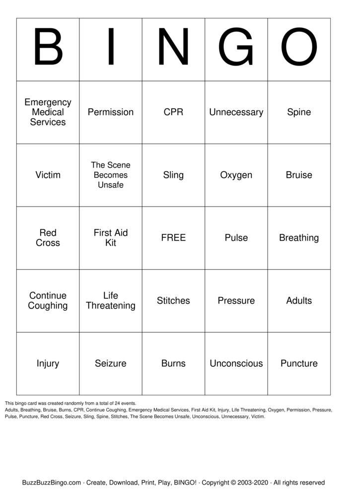 Download Free First Aid Bingo Bingo Cards