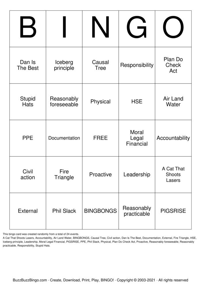 Download Free Health & Safety Bingo Cards