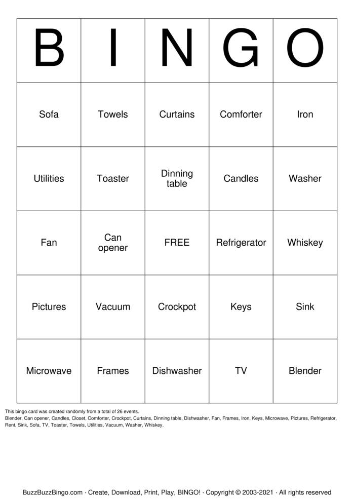 Download Free House Warming Party Bingo Cards