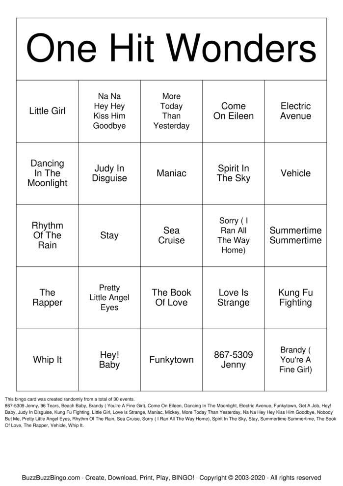 Download Free One Hit Wonders Bingo Cards