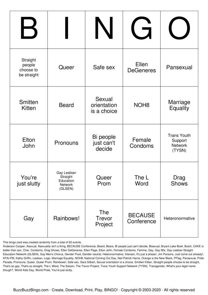 Download Free QUEER BINGO Bingo Cards