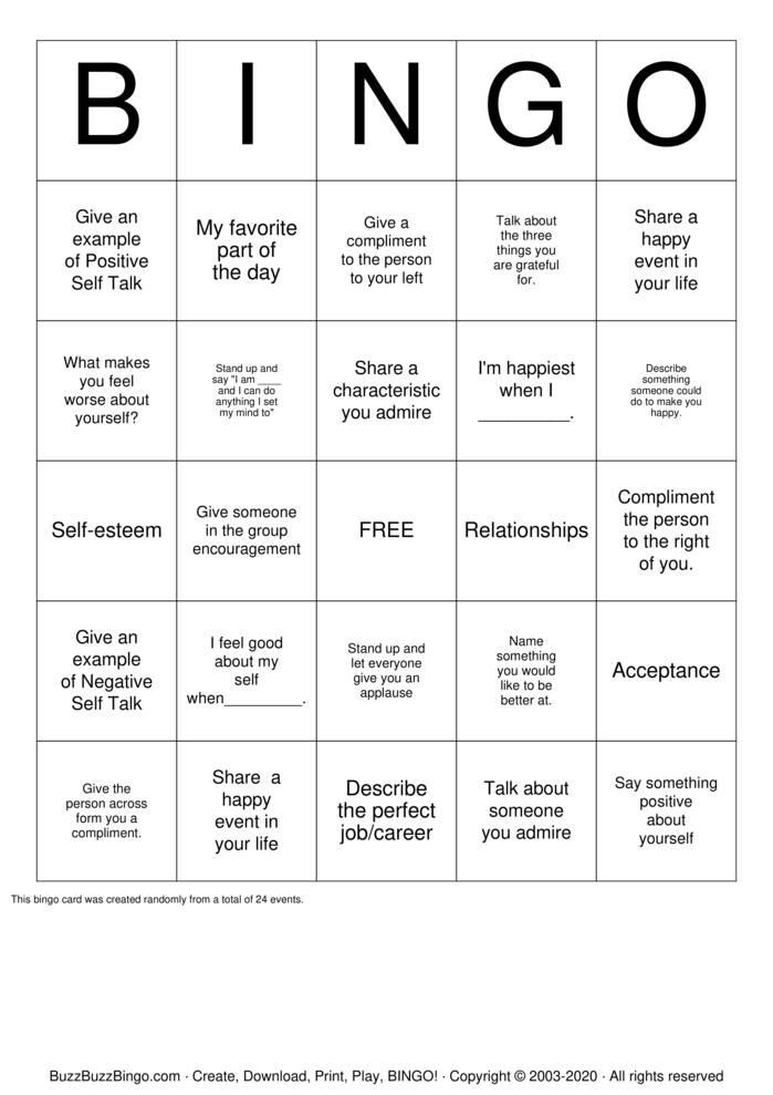 Download Free Self esteem  Bingo Cards