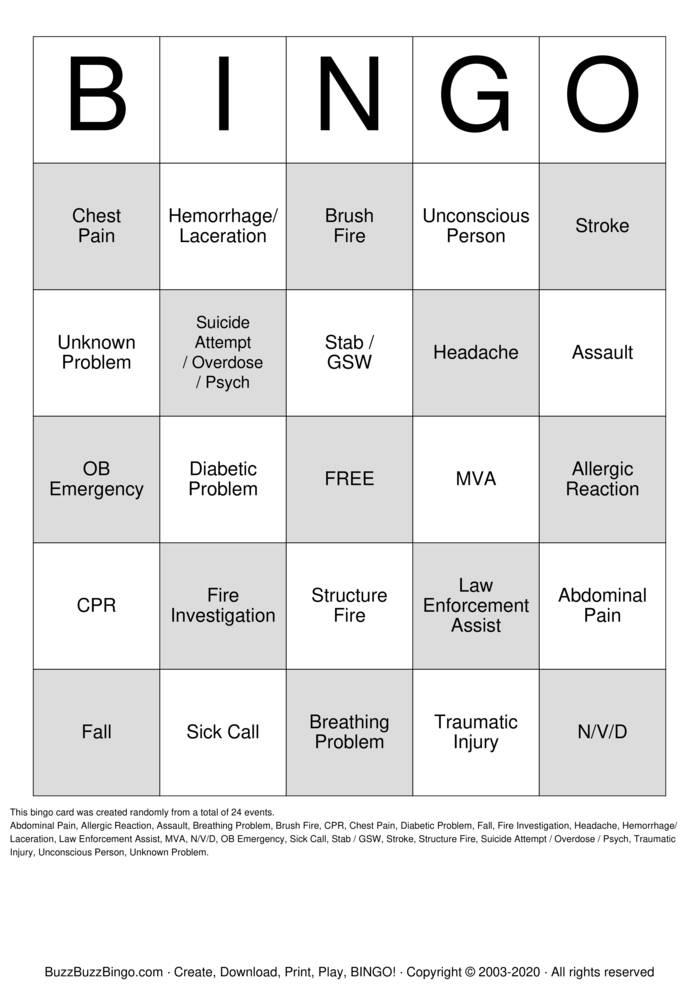 Download Free 911 Christmas Bingo Bingo Cards