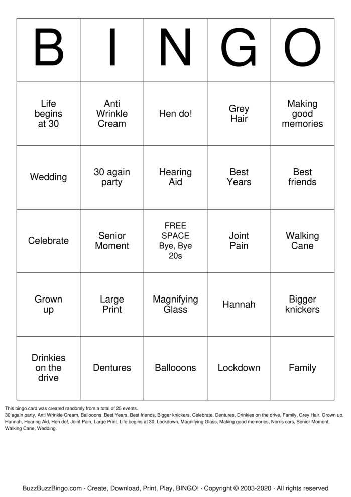 Download Free Hannah's 30th Birthday Bingo Cards