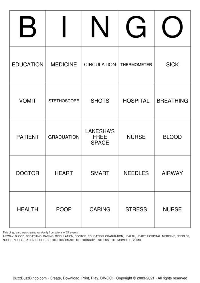 Download Free NURSE BINGO Bingo Cards