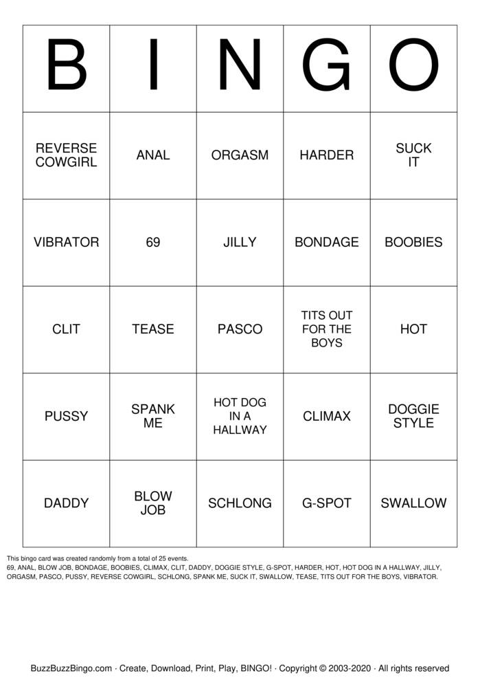 Download Free PENIS Bingo Cards