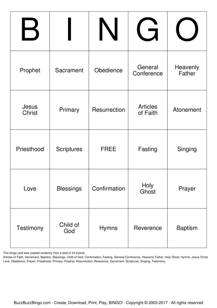 Download Free REVERENCE BINGO Bingo Cards