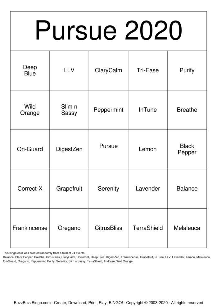 Download Free doTERRA OILS Bingo Cards