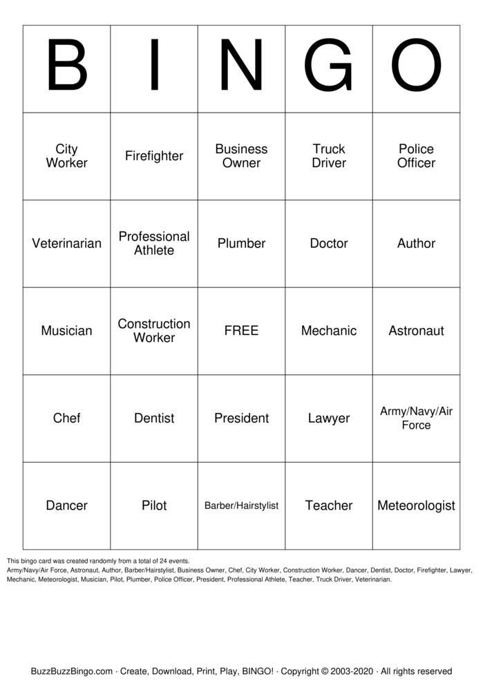 Download Free Career Bingo Bingo Cards
