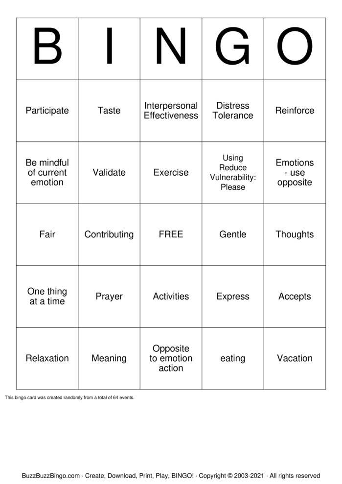 Download Free DBT Bingo Bingo Cards