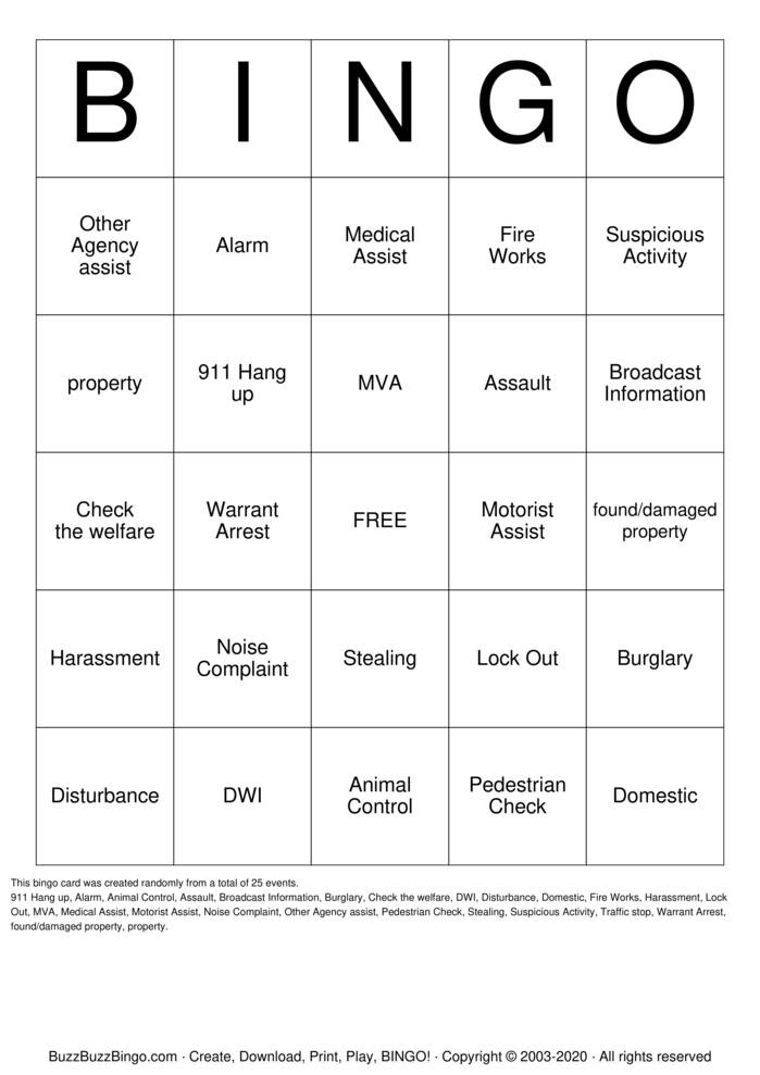 Download Free Dispatch Bingo! Bingo Cards