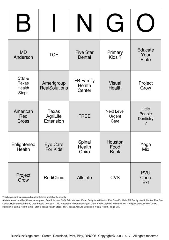 Health Fair Bingo Cards To Download Print And Customize