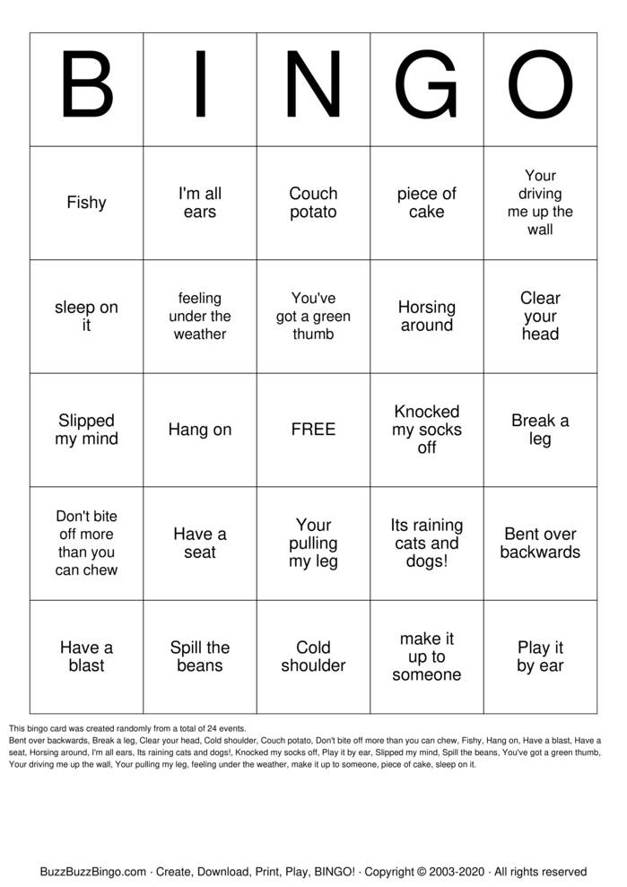 Download Free IDIOM BINGO Bingo Cards