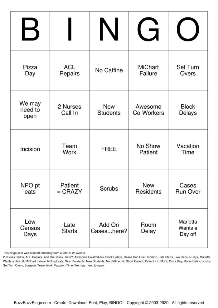 Download Free Nurses Week Bingo Bingo Cards