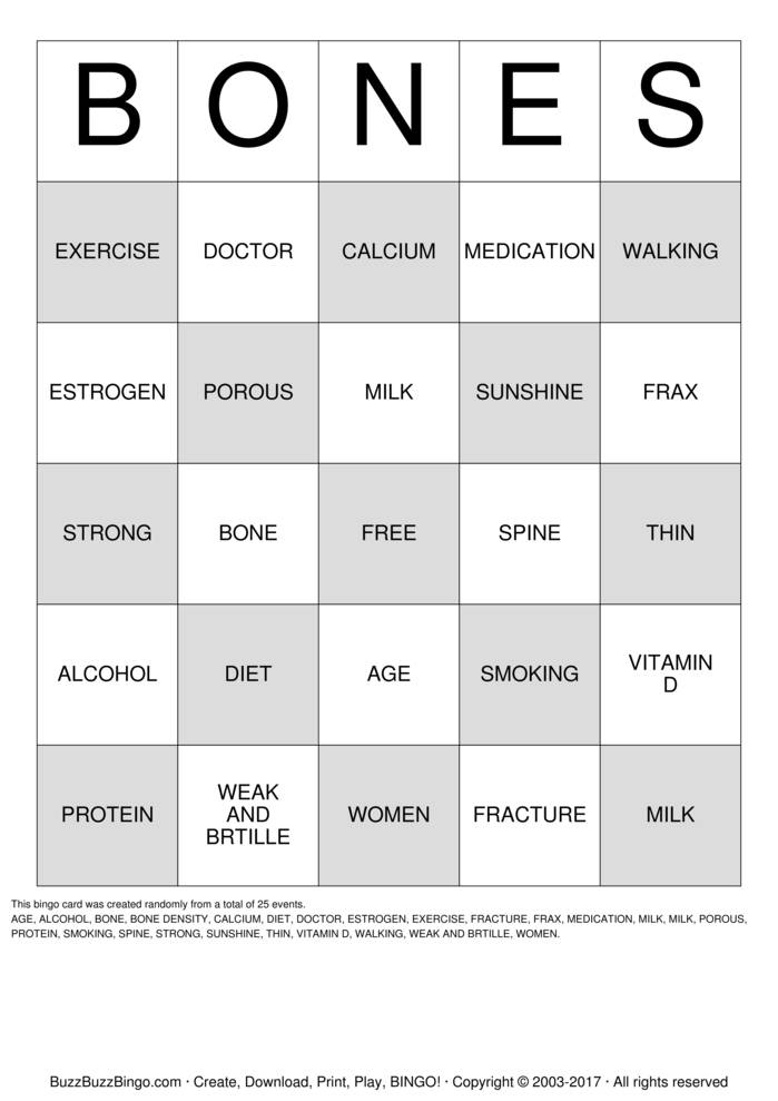 Download Free OSTEOPOROSIS Bingo Cards