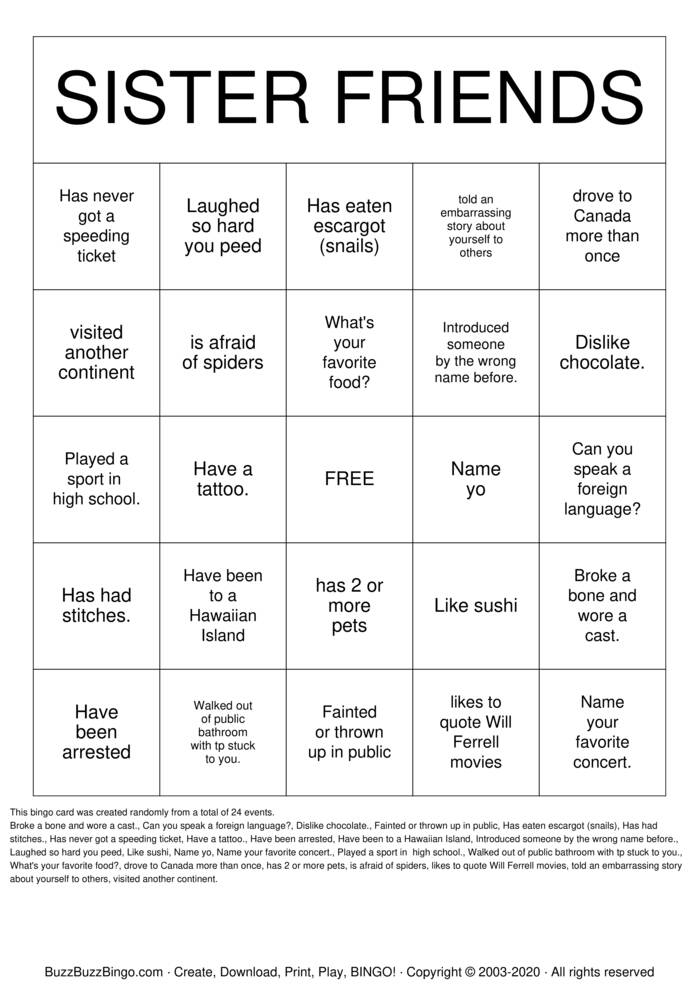 Download Free Sister Friends Bingo Cards